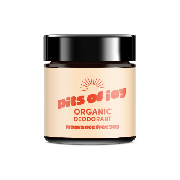 A 30g jar of Pits of Joy deodorant paste, in fragrance free
